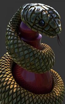 Serpente di re cobra che avvolge un pezzo degli scacchi rosso su fondo grigio scuro, colpo alto vicino