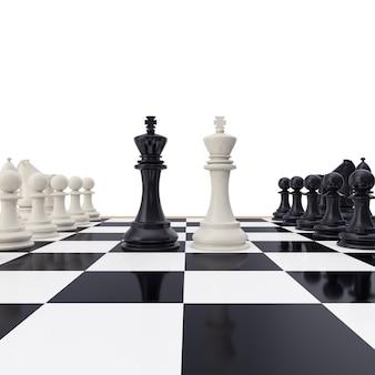 Re faccia a faccia sulla scacchiera isolata su bianco