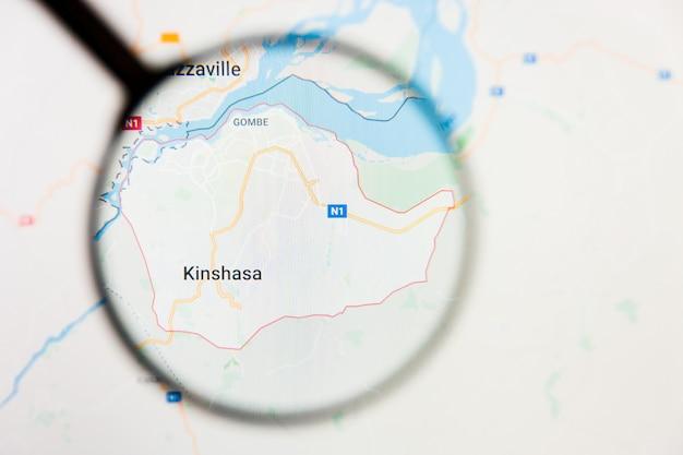Kinshasa, repubblica democratica del congo concetto di visualizzazione della città sullo schermo attraverso la lente di ingrandimento