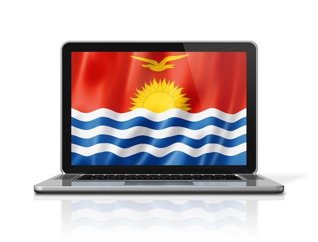 Bandiera di kiribati sullo schermo del computer portatile isolato su bianco. rendering di illustrazione 3d.