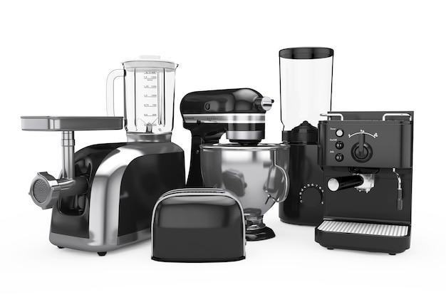 Set di elettrodomestici da cucina. frullatore nero, tostapane, macchina per il caffè, tritacarne, frullatore e macinacaffè su sfondo bianco. rendering 3d