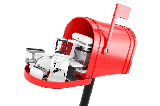 Elettrodomestici da cucina impostati nella cassetta postale rossa su sfondo bianco. rendering 3d