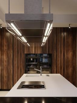 Cappa di design da cucina ed elettrodomestici da cucina da incasso in una cucina moderna. rendering 3d.