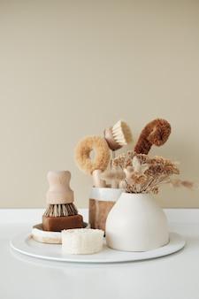 Spazzole per piatti da cucina in tazza in ceramica marrone