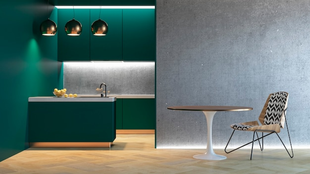 Cucina verde interni minimalisti con tavolo sedia lampada pavimento in legno muro di cemento. 3d render illustrazione.