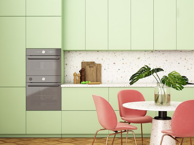 Interior design della cucina in stile modernorendering 3dillustrazione 3d