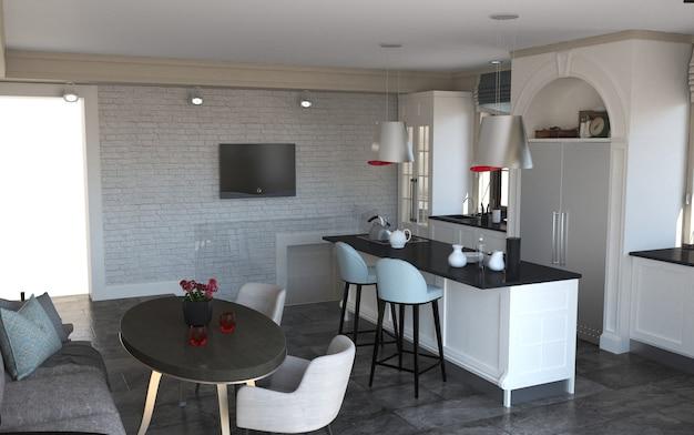 Cucina, visualizzazione interna, 3d