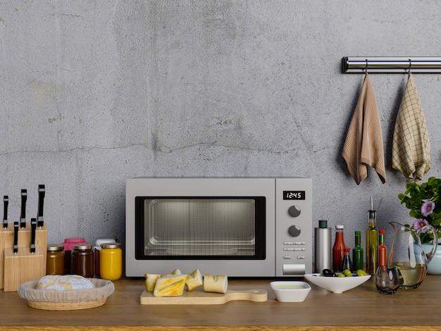 Tavolo da cucina con forno a microonde.