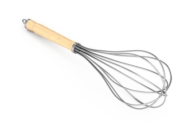 Cucina filo sbattere le uova beater su uno sfondo bianco. rendering 3d