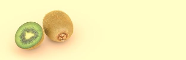 Kiwi su uno sfondo giallo, illustrazione 3d
