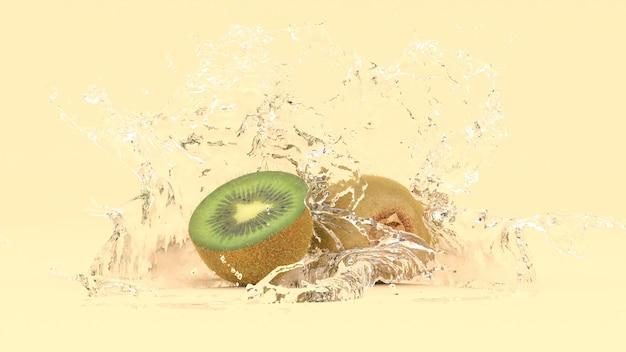 Kiwi su sfondo giallo in spruzzi d'acqua, illustrazione 3d