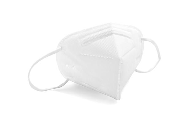 Maschera facciale kn95 o n95 per protezione da virus corona o pm 2.5 isolata su sfondo bianco con tracciato di ritaglio