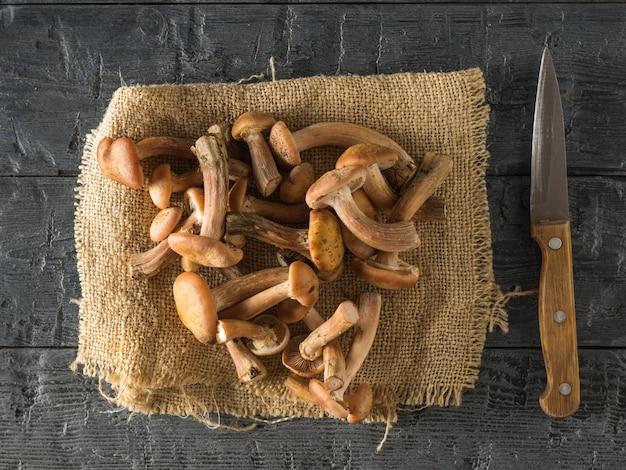 Un coltello con manico in legno e funghi di bosco su un pezzo di tela su un tavolo di legno