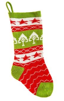 Calzino lavorato a maglia per regali isolati su sfondo bianco. calza di natale