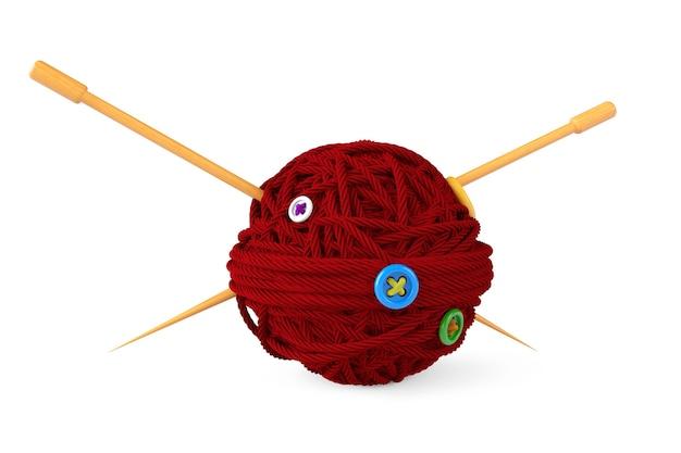 Ferri da maglia e gomitolo di lana su sfondo bianco