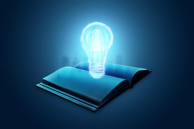 Concetto di conoscenza nei libri, nell'istruzione, nell'autoeducazione. lampada ad incandescenza su un libro su sfondo blu.