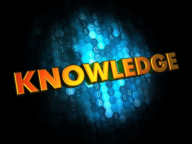 Concetto di conoscenza - testo di colore dorato su sfondo digitale blu scuro.