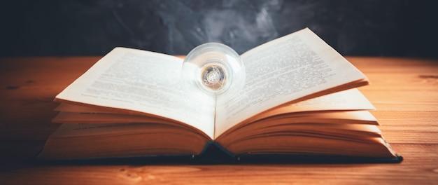 Conoscenza e saggezza, lampadina sul libro