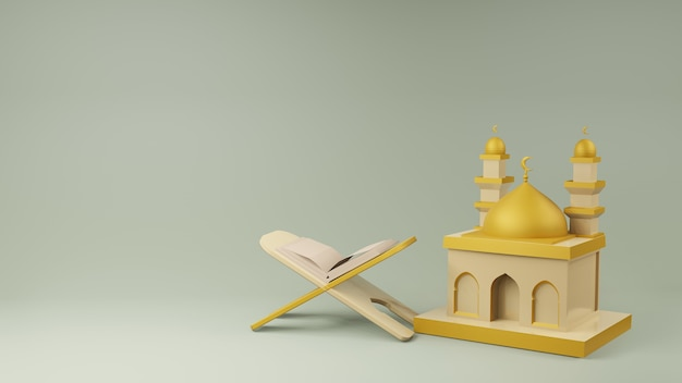 Corano e rendering 3d moschea
