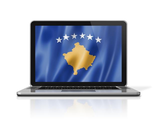 Bandiera del kosovo sullo schermo del computer portatile isolato su bianco. rendering di illustrazione 3d.