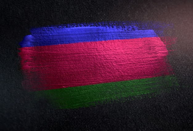 Bandiera della repubblica popolare di kuban fatta di vernice spazzola metallica sulla parete scura del grunge