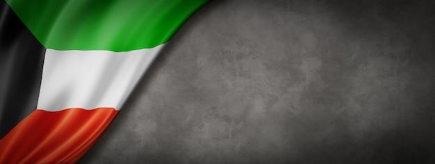 Bandiera del kuwait sul banner muro di cemento