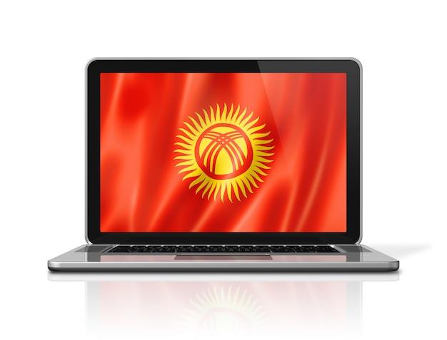Bandiera del kirghizistan sullo schermo del computer portatile isolato su bianco. rendering di illustrazione 3d.