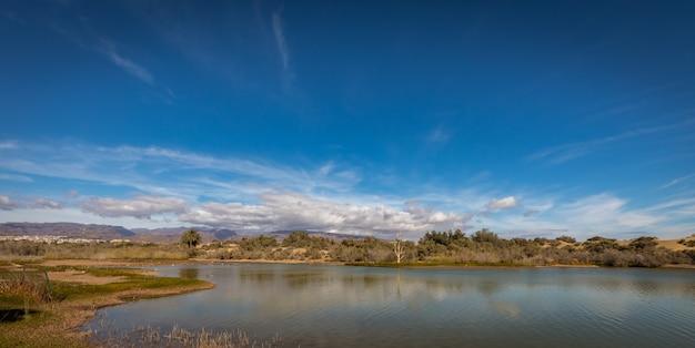 La charca, luogo di osservazione degli uccelli e riserva naturale a maspalomas a gran canaria, spagna