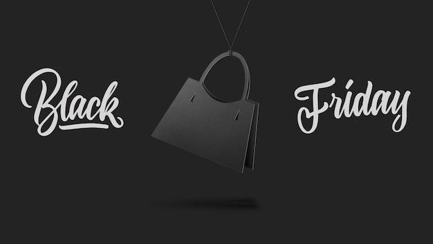 Etichetta in forma borsetta donna su alta collina fatta di cartone su sfondo grigio.un testo calligrafico venerdì nero e vendite di lusso concetto di stile premium