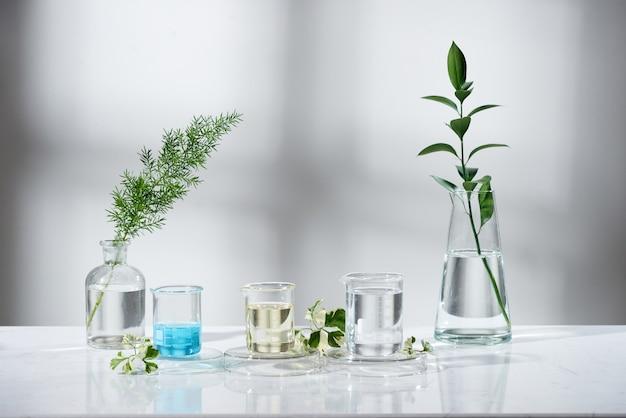 Esperimento di laboratorio e ricerca con estratto di foglie, olio ed ingredienti per la bellezza naturale e prodotti biologici per la cura della pelle la bottiglia vuota per l'etichetta, concetto di scienza biologica. medicina alternativa. terme.
