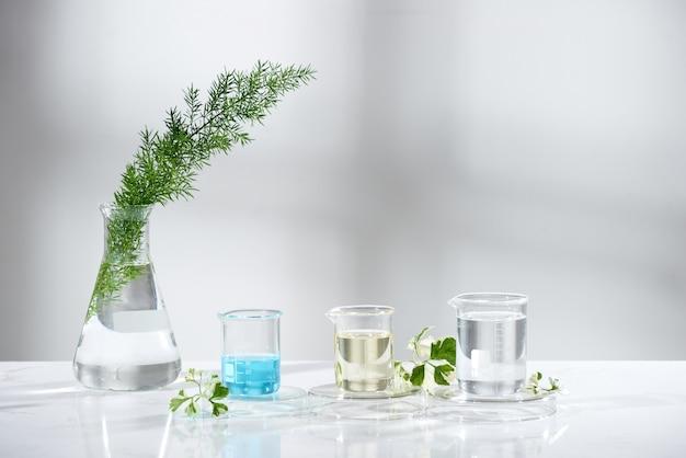 Attrezzatura da laboratorio in vetro con ingredienti naturali su sfondo bianco
