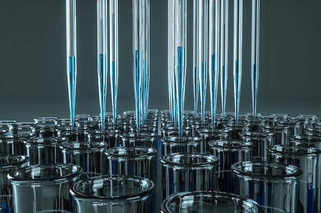Pipette di vetro da laboratorio in un supporto. pipetta di dosaggio