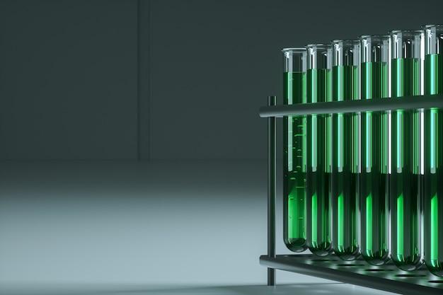 Pipette di vetro da laboratorio in un supporto