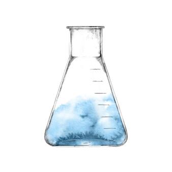 Vetreria di laboratorio con liquido blu isolato