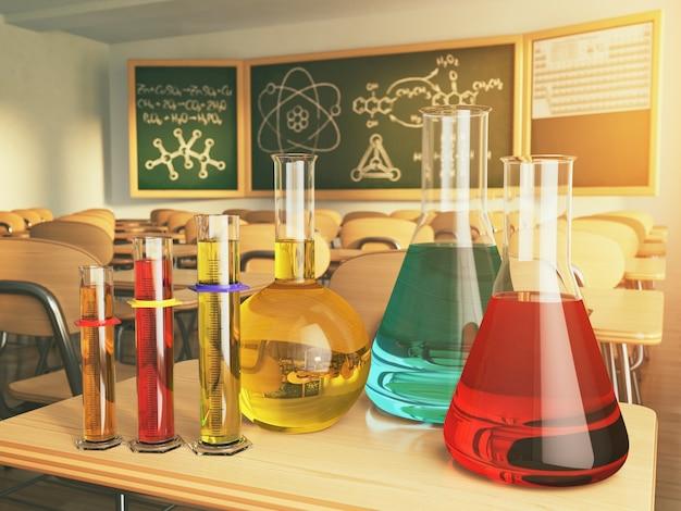 Vetreria da laboratorio con formula su blackdesk nel laboratorio di chimica della scuola. illustrazione 3d