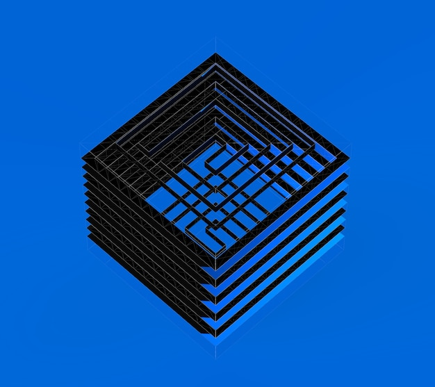 Labirinto astratto illustrazione 3d concetto di cubo labirinto nero isometrico isolato su sfondo blu