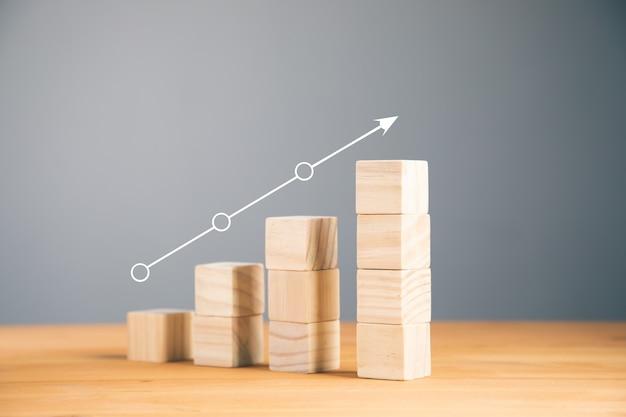 Scala del successo nel concetto di crescita del business, blocchi di legno