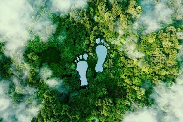 Un lago a forma di impronte umane nel mezzo di una foresta lussureggiante come metafora dell'impatto delle attività umane sul paesaggio e sulla natura in generale. rendering 3d.