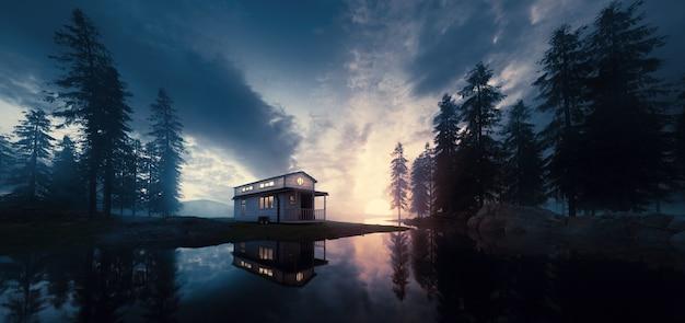 Lago con casetta vintage in un ambiente di foresta al tramonto. rendering 3d.