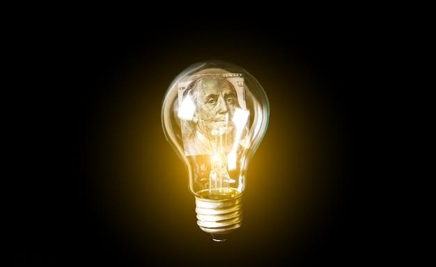 Lampadina con dentro i soldi. elettricità costosa. in aumento sul prezzo. nuovo concetto di idea. risparmiare energia. senza soldi. crisi economica, povertà, concetto di disoccupazione. isolamento per il coronavirus. tassi di inflazione.