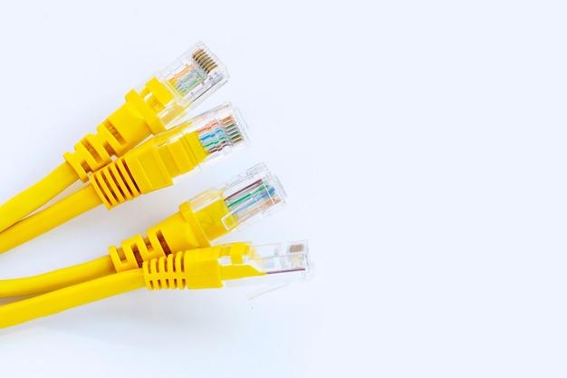 Cavi gialli ethernet di connessione di rete lan su bianco