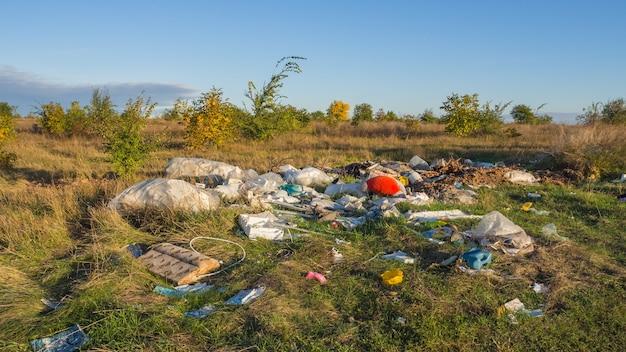 Rifiuti di discarica in natura. il problema dell'ecologia e dell'inquinamento ambientale.