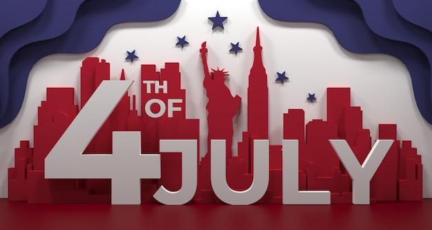 Punto di riferimento di new york city, america per le feste e il manifesto di festa dell'indipendenza, nell'illustrazione 3d.