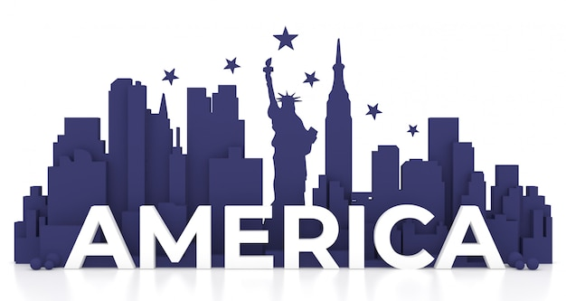Punto di riferimento di new york city, america per le feste e manifesto di viaggio, nell'illustrazione 3d.