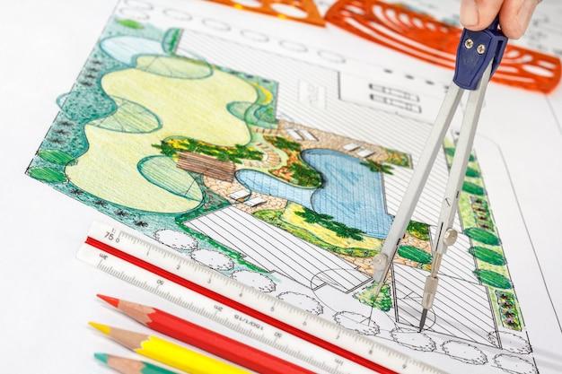Piano del cortile di progettazione dell'architetto paesaggista per la villa