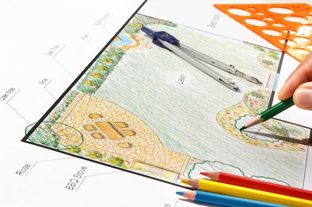Pianta del giardino di progettazione dell'architetto paesaggista