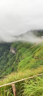 Paesaggio del bordo della scogliera e nebbia. punto di vista nella provincia di phetchabun thailandia.
