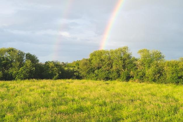Paesaggio di prati e alberi con doppio arcobaleno con cielo con nuvole.