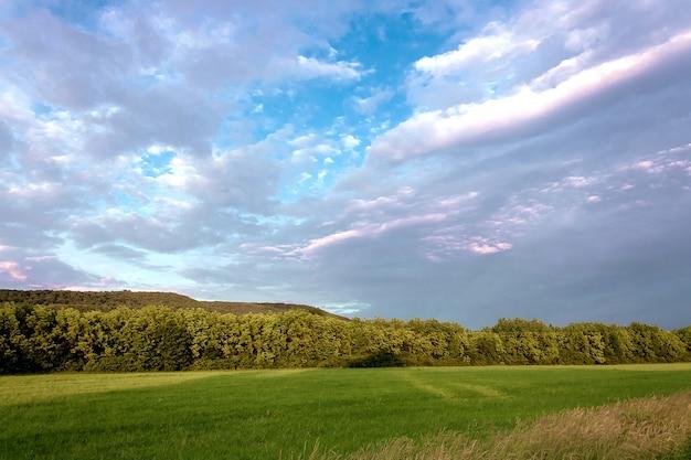 Paesaggio del cielo con nuvole sopra il campo