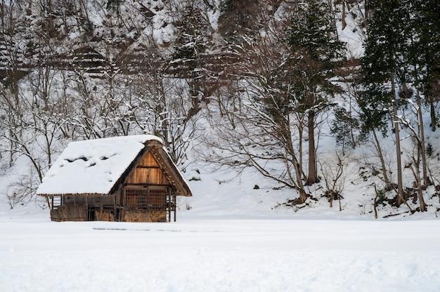 La vista del paesaggio di shirakawa-va nel giappone alla stagione invernale.